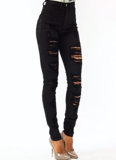 high-waisted distressed jeans $44.20