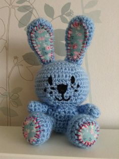 Blue crochet rabbit with tilda patches. Love this little guy. By Jenna Simpson