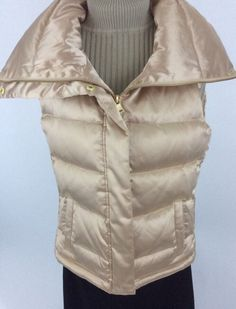 Talbots Womens XS Vest Goose Down Quilted Zipped Gold Pockets Cute K27 #Talbots #Vest