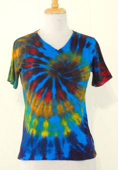 Hey, I found this really awesome Etsy listing at http://www.etsy.com/listing/75091555/tie-dye-womens-v-neck-turquoise-rainbow