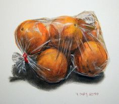 oranges- oil pastel A series of wrapped objects to draw, paint as a starting point