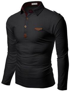 Doublju Mens Denim Collar Pocket Point Longsleeve Polo Shirts #doublju