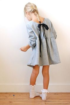 Gray dress with bow. #stylechild