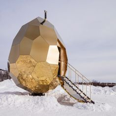 The artistic duo Bigert & Bergström presents the Solar Egg. Both artistic installation and public sauna, the Solar Egg is located in Kiruna, a city in the Dezeen Architecture, School Architecture, Architecture Design, Parametric Architecture, Wooden Architecture, Solar, Scandinavian Saunas, Building A Sauna, Sunken Hot Tub
