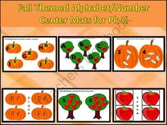 Fall Themed Alphabet/Number Mats/Wipe Off Cards from FunTeach on TeachersNotebook.com -  (79 pages)  - This download includes fall themed Mats that are perfect to use in learning centers for Pre-K and K students.
