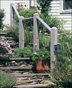 Rustic Railing -  There are occasions when simple is the ideal solution, and on this path the Rustic Single Railing is a wise choice.
