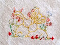Kitchen Towel Easter Bunny Love Hand Embroidery