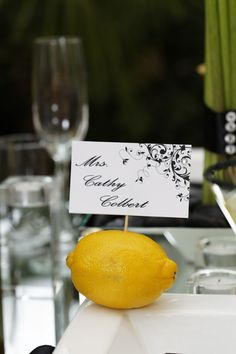 Black and white table cards and stationary