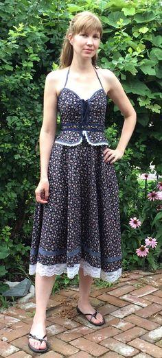 51M04 Gunne Sax by Jessica vintage halter dress with peplum sz 7