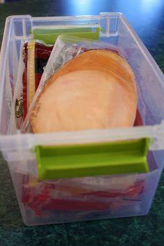 Lunch making basket in fridge