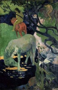 This ready to hang, gallery-wrapped art piece features a horse standing in a river. Paul Gauguin was a leading Post-Impressionist painter. His bold experimentation with coloring led directly to the Sy