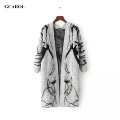Women Open Stitch Long Cardigan Autumn Winter Mohair Cardigan Fashion Casual Thick Knitted Coat Outwear For ladies