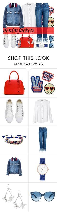 """Wardrobe Staple: Denim Jackets..."" by unamiradaatuarmario ❤ liked on Polyvore featuring Converse, Banana Republic, Ettika, Jamie Wei Huang, denimjackets and WardrobeStaples"
