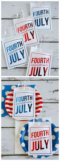 4th of July Utensil Holders | Free Printable 4th of July Utensil Holders for your party!