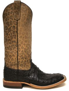 Anderson Bean Ostrich Boots w/ Leather leopard print tops from South Texas Tack.