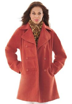 Plus Size Military Style Jacket (Red Ochre,14)