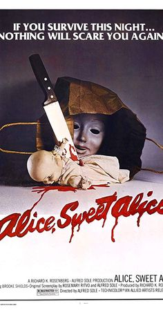 Black as midnight, black as pitch, blacker than the foulest witch. Horror Movie Posters, Horror Movies, Alice Sweet Alice, Paul Burke, Linda Miller, Barbi Benton, Brooke Shields, Fright Night, Twin Brothers