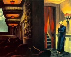 This is probably my favourite Hopper painting. It could be a still from a film. What is the woman thinking? What has just happened? What is going to happen. The red curtains and the stairs beyond are ominous.