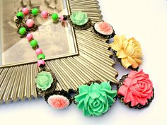 Pink Necklace Vintage Style Colorful Necklace by Sweetystuff, £35.00