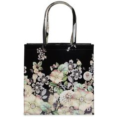 Women's Ted Baker London Gem Gardens Large Icon Tote (£46) ❤ liked on Polyvore featuring bags, handbags, tote bags, black, studded purse, jeweled handbags, tote hand bags, ted baker purse and tote bag purse