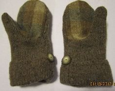 Felted Wool Mittens made from Recycled (Upcycled) Sweaters Fleece Lined Adult Small Medium Tan Gray  $20