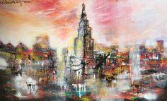 """Dé skyline onder de Groningse skylines hangt op dit moment in Galerie Erik Zwezerijnen Folkingestraat. Met een geweldig formaat van 100 x 160 cm is dit schilderij met de titel """"Awakening"""" een ware eyecatcher. Werp er een blik op en laat u meeslepen in de stadse energie!"""