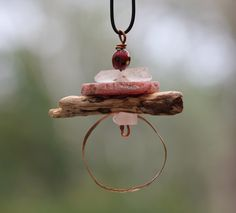 Unique Copper and Gemstone Layered Pendant. Soldby HammeredandFired on Etsy https://www.etsy.com/au/listing/493257734/unique-copper-and-gemstone-layered