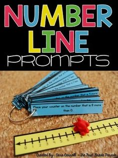 ***165 NUMBER LINE PROMPTS for the primary classroom!!!***I implemented these number line prompts into my daily instruction with the idea of helping my kids not only build their numeracy skills, but also enhance their math vocabulary.Each of my students gets a laminated number line and a counter to keep in their desk.