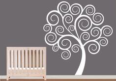 Childrens wall decal nursery tree vinyl wall by ModernWallDecal Childrens Wall Decals, Nursery Wall Decals, Vinyl Wall Art, Art Wall Kids, Wall Art Decor, Tree Wall, Painted Trees, Baby Hunter, Erika