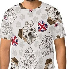 Camiseta de bulldogs en color blanco para chico. Unisex, Bulldogs, Mens Tops, T Shirt, Color, Fashion, English Bulldogs, Best T Shirts, Sweatshirts