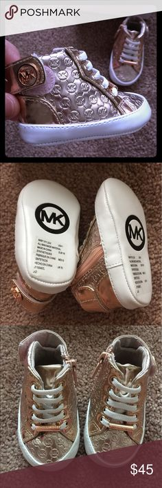 MK infant shoes with box. 0-3 months fits infants 0-3 months. worn once. like new condition. Michael Kors Shoes