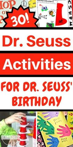 Seuss Activities perfect for helping toddler preschool prek kindergarten first grade grade grade and grade kids to celebrate Dr. These fun educational activities are perfect for schools. Dr. Seuss, Dr Seuss Art, Dr Seuss Crafts, Dr Seuss Week, Dr Suess Books, Preschool Themes, Kindergarten Activities, Preschool Crafts, Toddler Preschool