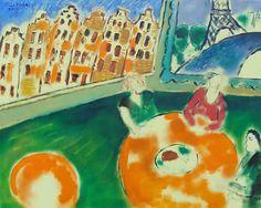 Frans Schuursma,  'Amsterdam ou Paris',   olieverf op linnen, 65 x 80 cm