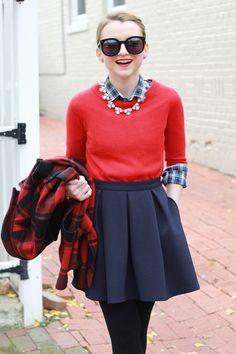 Poor Little It Girl - Red Buffalo Check Coat, Navy Skater Skirt, Red Sweater and Black Sunglasses