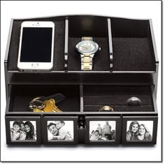 Men's Phone Valet with Organizer Perfect for keeping your belongings in place at work or at home. Includes four built-in frames for displaying family photos.    HANDY FEATURE: The sleek organizer features a hidden slot to slide a mobile device charger through.  MAKE IT HIS functional finds...Shop 24/7, Ship anywhere... http://jgoertzen.avonrepresentative.com/