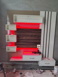 #woodworkingidea Lcd Units, Tv Wall Cabinets, Wall Units, Cabinet Design, Floating Nightstand, Home Improvement, Woodworking, Led, Table