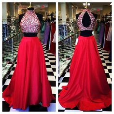 Sexy Beaded Prom Ball Long Two Piece Evening Party Pageant dress Custom