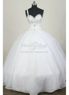 White Quince Dresses   fast shipping beading one shoulder white quinceanera gowns 2013