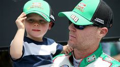 BRISTOL, TN - APRIL 18:  Kevin Harvick, driver of the #88 Hunt Brothers Pizza Chevrolet, stands behind stage with his son, Keelan, prior to the start of the NASCAR XFINITY Series Drive To Stop Diabetes 300 at Bristol Motor Speedway on April 18, 2015 in Bristol, Tennessee.  (Photo by Sean Gardner/Getty Images) LIL GUY WRECKS DAD TO BEAT HIM,HA,HA!!#RACING DNA