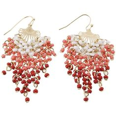 Coral Ombre Chandelier Earrings (1685 RSD) found on Polyvore featuring jewelry, earrings, accessories, серьги, atstyle247, coral, fashion jewelry, white coral jewelry, coral chandelier earrings and ombre jewelry