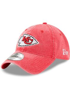 cd773f666 New Era Kansas City Chiefs Mens Red Rugged Wash 9TWENTY Adjustable Hat Nfl  Kansas City Chiefs