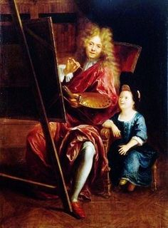 Self Portrait in a Blond Big Wig! French artist Charles Antoine Coypel (1661-1722) and his son. A painter of history, his great work of decoration was the ceiling of the Royal chapel at Versailles (1716), in the manner of the Roman Baroque. He also carried out large-scale paintings illustrating themes of the Aeneid for the Palais-Royal (1714–1717).