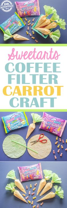 Hip hop hooray, this Carrot Easter Coffee Filter Craft featuring SweeTARTS Soft Bites Bunnies are perfect for your Easter baskets. And they're adorable and easy to make! #ad