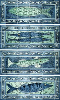 Four fishy tile panels by Reptile Tiles Delft Tiles, Mosaic Tiles, Ceramic Pottery, Ceramic Art, Slab Pottery, Ceramic Plates, Antique Tiles, Vintage Tile, Turkish Tiles