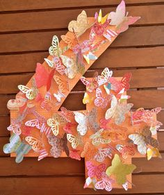 Giggleberry Creations!: Butterfly Party - Number Wreath... Could also make initials. Great to go with Fairy House Party.