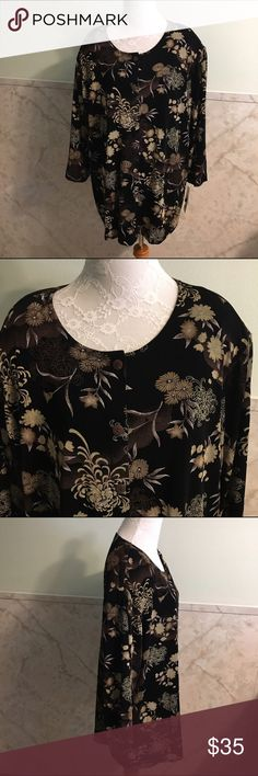 NWT Vikki Vi Floral Stretchy Button Down Top This is a nice neutral top by Vikki Vi in a size 2x. It's brand new with tags. The fabric is nice and stretchy and made from acetate and spandex. It's a full button down. Vikki Vi Tops Button Down Shirts