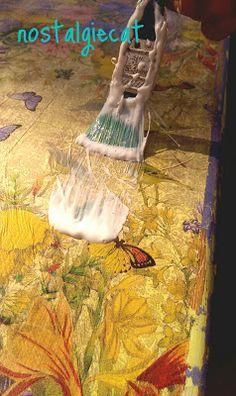 nostalgiecat: Napking decoupage table-top makeover