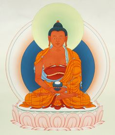 "Buddha of Limitless Light (skt. Amitabha; tib. Öpame) Tibetan Buddhism Karma Gadri Painting Art - Taken from the book ""The Life of Buddha - The Karma Guen Buddhist Center in Spain And Its Precious Wall Paintings"" https://www.amazon.com/The-Life-Buddha-Buddhist-Paintings/dp/8461698800/ref=as_sl_pc_ss_til?tag=httpwwwbuddhi-20&linkCode=w01&linkId=TSQ3HKCLPJFEIROH&creativeASIN=8461698800"