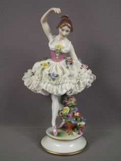 Antique Volkstedt German Porcelain Dresden Lace Lady Ballerina Dancer Figurine
