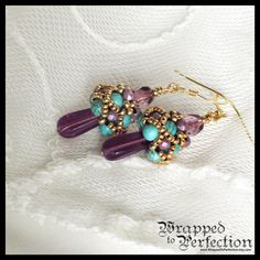 Purple Turquoise & Gold Earrings / Beaded by WrappedToPerfection, $21.00